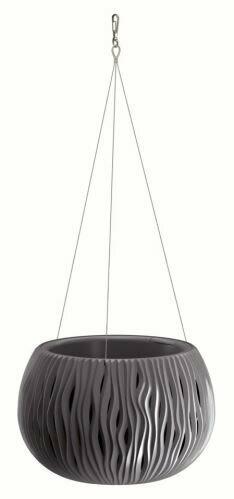Blumentopf mit Einsatz und Stahl. Kabel SANDY BOWL WS anthrazit 23,8 cm