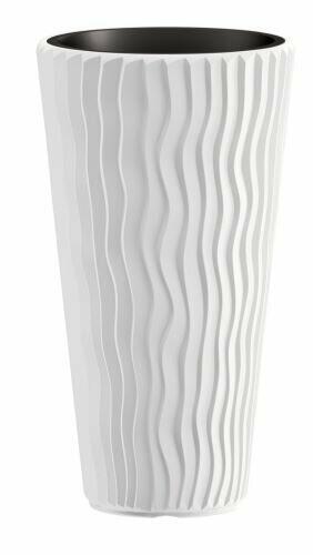 Blumentopf SANDY SLIM + Einsatz weiß 39 cm