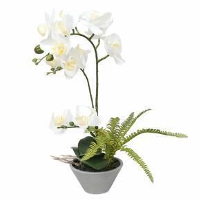 Künstliche Orchidee weiß mit Farn 43 cm